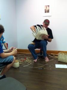 Artist James Buxton making Ash Baskets